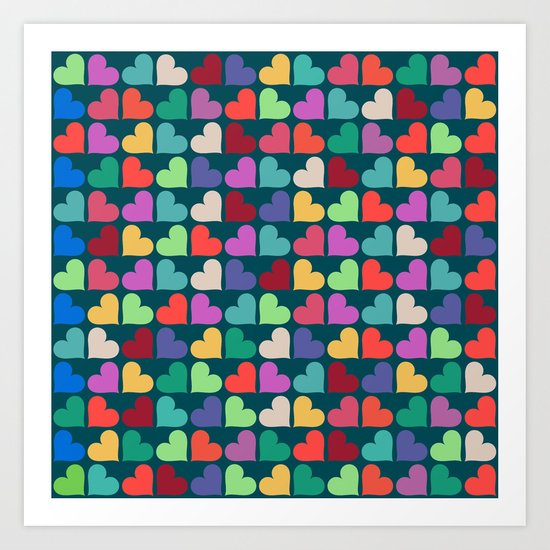 Colorful Love Pattern XII Art Print