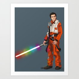Rainbow Lightsaber Poe Art Print