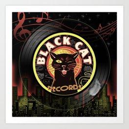 Black Cat LP Art Deco Art Print