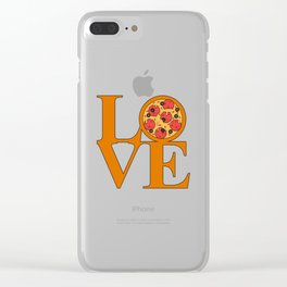 Love Pizza Clear iPhone Case