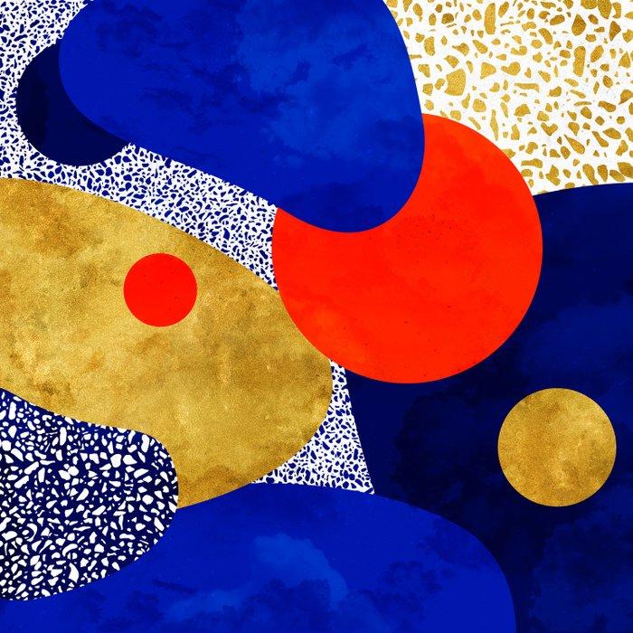 Terrazzo galaxy blue night yellow gold orange Duvet Cover
