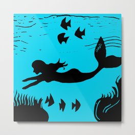 Mermaid Silhouette Art Metal Print