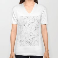 white marble V-neck T-shirts featuring White Marble by littlesak