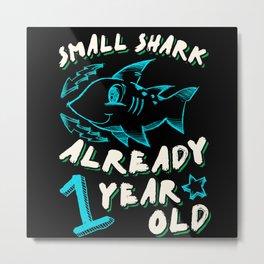 1st Birthday Kids Gift Cute Shark Metal Print