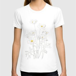 white cosmos flowers  ink and watercolor T-shirt
