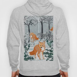Fox Snow Walk, Animals Wildlife Winter, New Years Christmas Forest Wildlife Painting Hoody