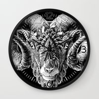 bioworkz Wall Clocks featuring Ram Head by BIOWORKZ