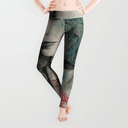 SGNL>05 (seminude street art portrait, topless lady with swan tattoo) Leggings