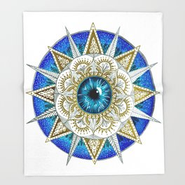 Eye Mandala Throw Blanket