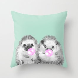 Playful Twins Hedgehog Throw Pillow