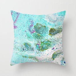 Abstract contemporary painting, aerial view of the ocean and its coral reef Throw Pillow