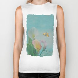 Painterly Calla flowers and leaves Biker Tank