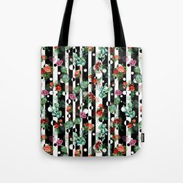 Cactus Flowers and Lines Tote Bag