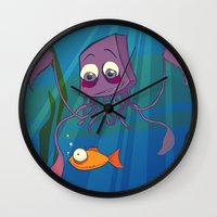 carl sagan Wall Clocks featuring Carl by Dimind