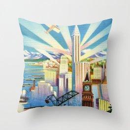 Pacific Northwest Seattle Washington Art Deco Advertising Portrait Throw Pillow