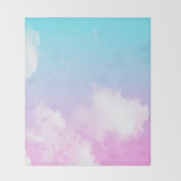 Pink Summer Clouds Throw Blanket