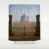 the national Shower Curtains featuring Necropole National by davehare