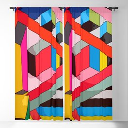 Modern rainbow colorblocking designed in contemporary colours #Terrazzo #Blobs Blackout Curtain