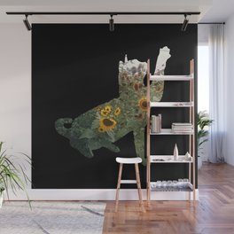 Cat Silhouetted in Sunflowers Wall Mural