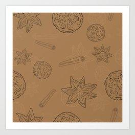 Pattern with Cinnamon and lemon Art Print