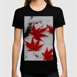 red maple on a field of snowy white T-shirt