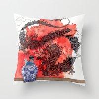 tintin Throw Pillows featuring Tintin, Le Lotus Bleu by Renee Nault