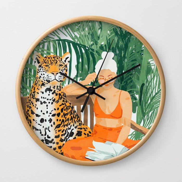 Jungle Vacay #painting #illustration Wall Clock