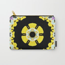 Conceptual abstract yellow, black and purple infinite pattern forming an ornate center design Carry-All Pouch