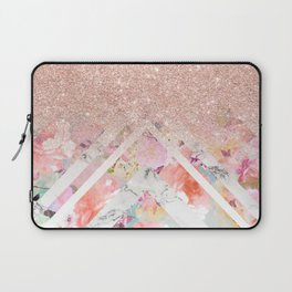 Modern rose gold glitter ombre floral watercolor white marble triangles Laptop Sleeve