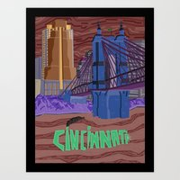 cincinnati Art Prints featuring Cincinnati by photosamyam