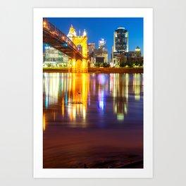 Cincinnati Ohio Skyline Reflections at Dawn Art Print