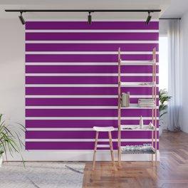 Horizontal Lines (White/Purple) Wall Mural