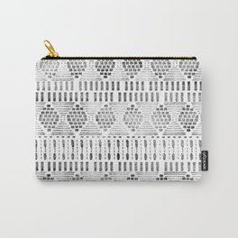 Aztec I Pattern Black and White Carry-All Pouch