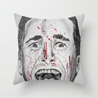 american psycho Throw Pillows featuring American Psycho by Haley Erin