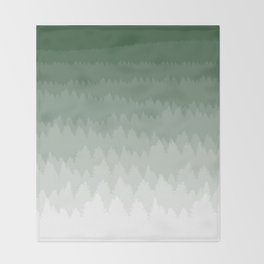 Green Ombré Forest Throw Blanket