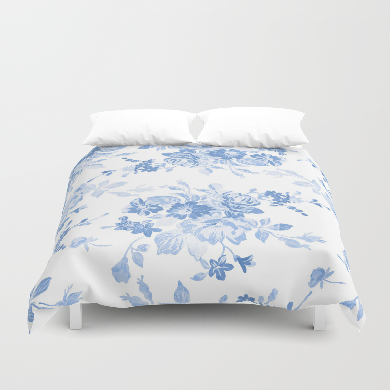 Modern Navy Blue White Watercolor Elegant Floral Duvet Cover By