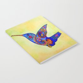humming bird in color with green-yellow back ground Notebook