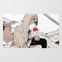 doberman Area & Throw Rugs featuring Monsieur Doberman by Cassandra Jean