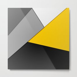 Simple Modern Gray Yellow and Black Geometric Metal Print