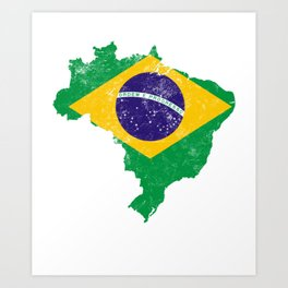 Brazil Flag print distressed vintage Art Print