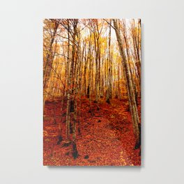 Red tree, fall forest, nature, leaves, golden yellow Metal Print