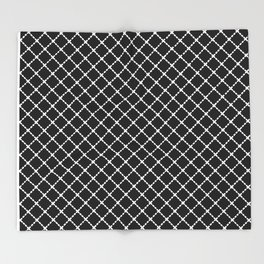 Dotted Grid 45 Black Throw Blanket