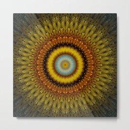 Autumn abstract sunflower mandala Metal Print