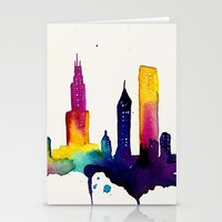 chicago map Stationery Cards featuring Chicago  by Talula Christian