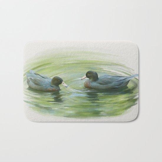 Blue Ducks in pond Bath Mat