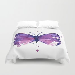 Butterfly Purple Watercolor Animal Duvet Cover