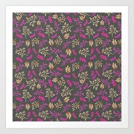 Botanical neon pink brown gray floral illustration Art Print