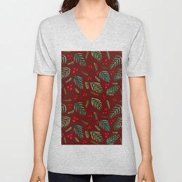 Christmas tree branches and berries - red and green Unisex V-Neck