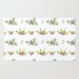 Modern coral yellow green watercolor cute flowers Rug
