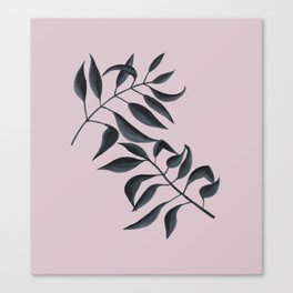 Grey Leaves on Pink Canvas Print